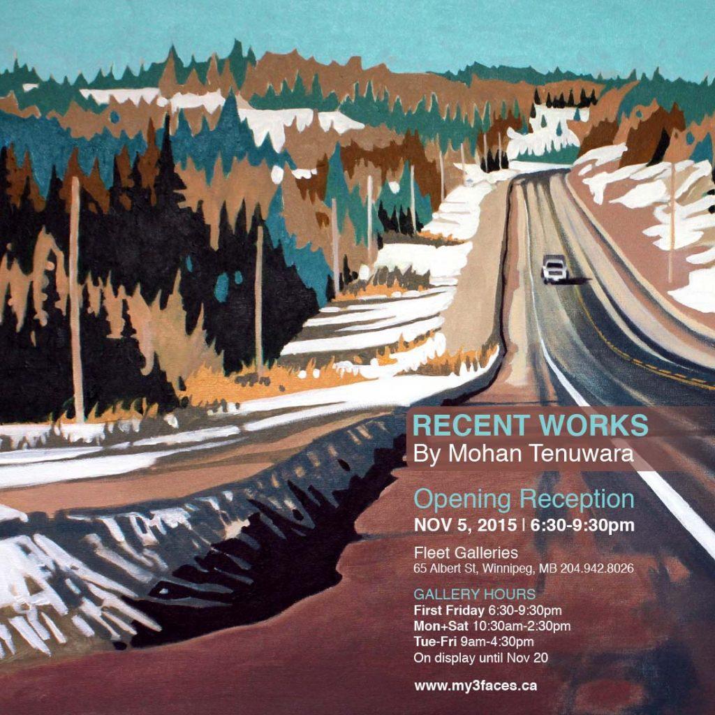 """2015 Solo Art Exhibition, """"Recent Works"""", Fleet Galleries, Winnipeg, Manitoba"""