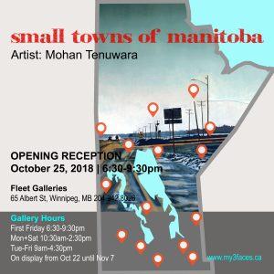 "2018 Solo Art Exhibition ""small towns of Manitoba"", Fleet Galleries, Winnipeg, Manitoba"